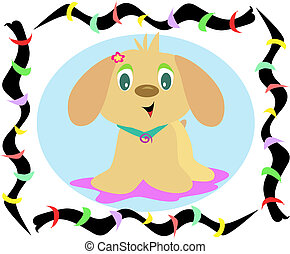 Rainbow Frame of Puppy Dog Vector