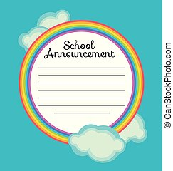 rainbow frame  vector background. colorful school border template illustration for announcement