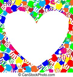 rainbow frame with copy space in shape of heart and hand prints