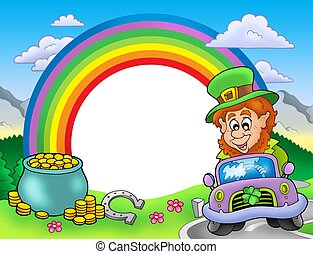 Rainbow frame with leprechaun in car - color illustration.