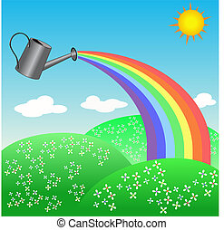 Rainbow from a watering can