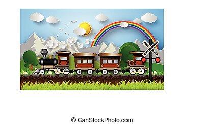 rainbow., fundo, trem