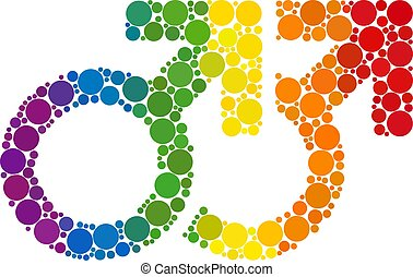 Rainbow Gay couple symbol Mosaic Icon of Spheric Dots