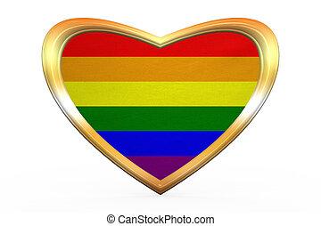 Rainbow gay pride flag, heart shape, golden frame