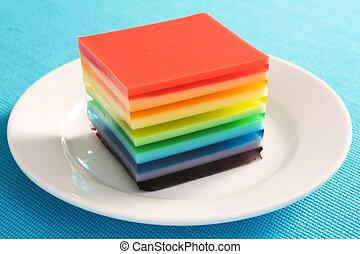 Rainbow Gelatin - A colorful treat of rainbow layered...