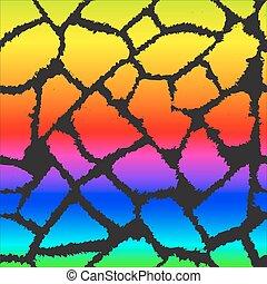 Rainbow giraffe skin vector pattern.