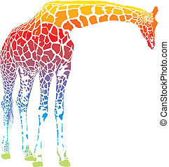 rainbow giraffe vector