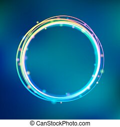 Rainbow glowing circle frame with sparkles