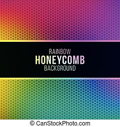 Rainbow gradient background with honeycomb pattern