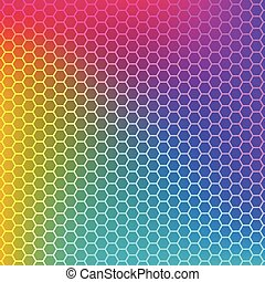 Rainbow gradient background with honeycomb texture