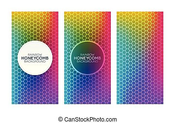 Rainbow gradient banners with honeycomb textures