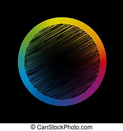 Rainbow Gradient Circle Black Scribble Center