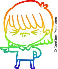 rainbow gradient line drawing of a annoyed cartoon girl making accusation