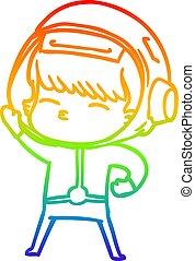 rainbow gradient line drawing cartoon astronaut