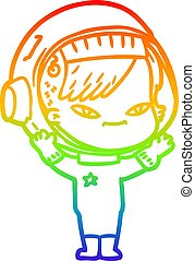 rainbow gradient line drawing cartoon astronaut woman