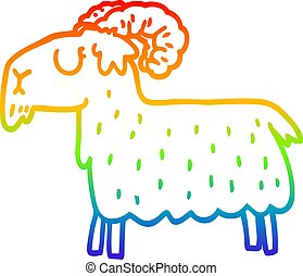 rainbow gradient line drawing cartoon black goat