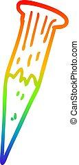 rainbow gradient line drawing cartoon bloody vampire stake -...