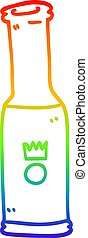 rainbow gradient line drawing cartoon bottle of pop - ...