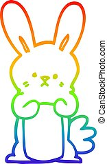 rainbow gradient line drawing cartoon bunny rabbit