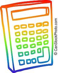rainbow gradient line drawing cartoon calculator - rainbow...