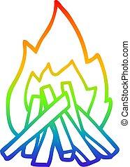 rainbow gradient line drawing cartoon camp fire