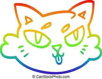 rainbow gradient line drawing cartoon cats face