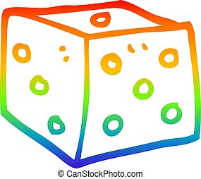 rainbow gradient line drawing cartoon classic dice