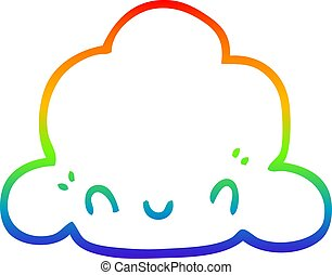 rainbow gradient line drawing cartoon cloud