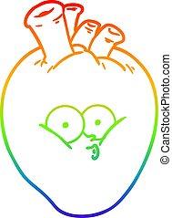 rainbow gradient line drawing cartoon confused heart