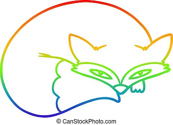 rainbow gradient line drawing cartoon curled up fox -...