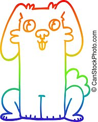 rainbow gradient line drawing cartoon cute bunny