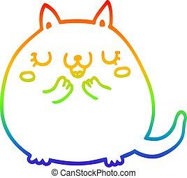 rainbow gradient line drawing cartoon cute cat