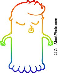rainbow gradient line drawing cartoon cute ghost