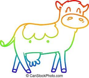 rainbow gradient line drawing cartoon dairy cow