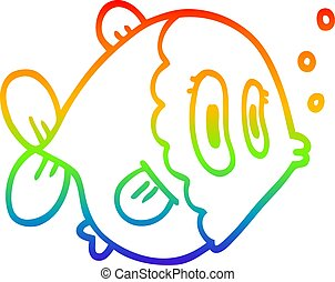 rainbow gradient line drawing cartoon fish