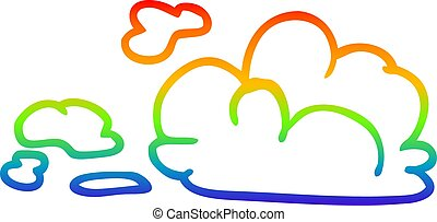 rainbow gradient line drawing cartoon fluffy white clouds