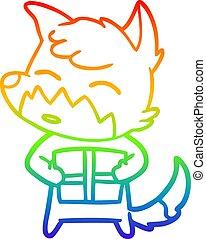 rainbow gradient line drawing cartoon fox