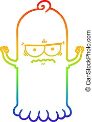 rainbow gradient line drawing cartoon ghost