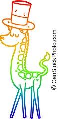 rainbow gradient line drawing cartoon giraffe in top hat