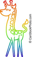 rainbow gradient line drawing cartoon giraffe