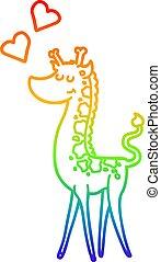 rainbow gradient line drawing cartoon giraffe with love heart