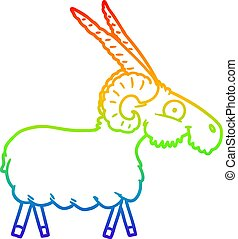 rainbow gradient line drawing cartoon goat