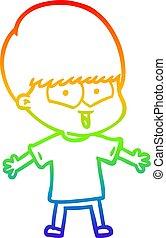 rainbow gradient line drawing cartoon happy boy