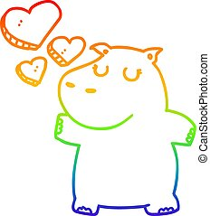 rainbow gradient line drawing cartoon hippo in love