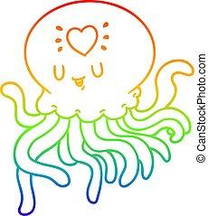rainbow gradient line drawing cartoon jellyfish in love