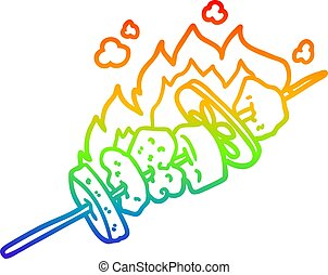 rainbow gradient line drawing cartoon kebab sticks - rainbow...