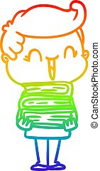 rainbow gradient line drawing cartoon laughing boy carrying books