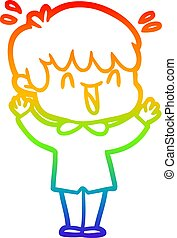 rainbow gradient line drawing cartoon laughing boy