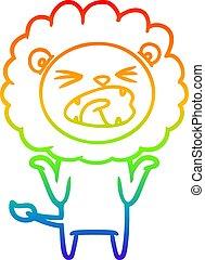 rainbow gradient line drawing cartoon lion