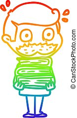 rainbow gradient line drawing cartoon man with mustache and...